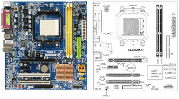 Gigabyte GA-M61VME-S2 Motherboard and Diagram