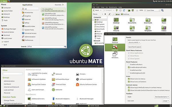 Screen shot of the Mate desktop running on Ubuntu Linux