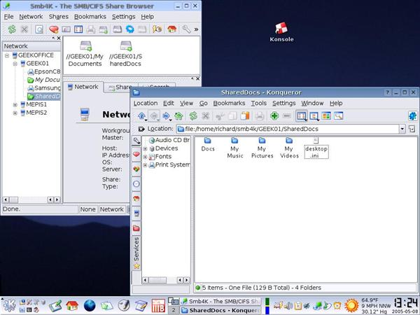 Screen shot of Simply MEPIS desktop with several windows open and various icons